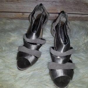 BCBG Max Azria Gray Suede Satin Heels Size 8